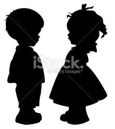 Silhouette, Enfant, Petits garçons, Petites filles, Profil Illustration vectorielle libre de droits