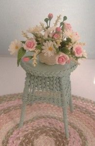 One Inch Scale Dollhouse Miniature Handmade Wicker Side Table.