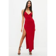 Missguided Red Stretch Multi Strap Plunge Split Maxi Dress ($68) ❤ liked on Polyvore featuring dresses, red, red white dress, missguided dresses, red cocktail dress, maxi dresses and plunging neckline dress
