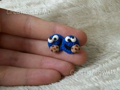 Cookie Monster stud earrings polymer clay fimo handmade. $4.00, via Etsy.