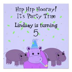 Hippo Birthday Party Invitation