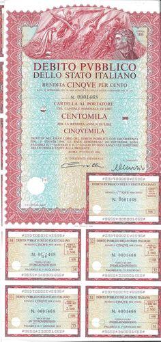 DEBITO PUBBL. DELLO STATO ITALIANO - RENDITA 5% - CARTELLE AL PORT. (ANNO 1996) - #scripomarket #scriposigns #scripofilia #scripophily #finanza #finance #collezionismo #collectibles #arte #art #scripoart #scripoarte #borsa #stock #azioni #bonds #obbligazioni