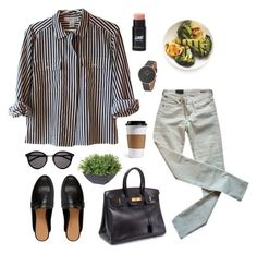 Untitled #717 by keziakaligis on Polyvore featuring Citizens of Humanity, Hermès, Skagen, Yves Saint Laurent and Ethan Allen