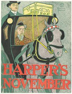 HORSE CARRIAGE MAGAZINE HARPER/'S NOVEMBER USA VINTAGE POSTER REPRO
