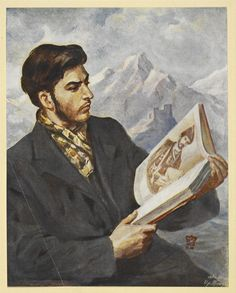 Young Stalin Reading 'Poeziia Gruzii' Moscow 1949   only book with big pictures because behaind only 3 classes