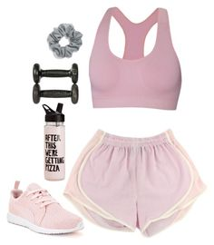 """""""i hate working out"""" by naughty-nymphets ❤ liked on Polyvore featuring ibex, Puma, Natasha Couture, women's clothing, women, female, woman, misses, juniors and Pink"""