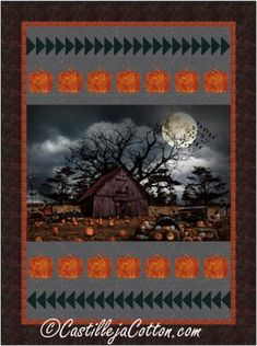 """Panel with pieced pumpkins and geese border blocks. Finished Size: Lap/Throw 52"""" x 70"""" Skill Level: Advanced Beginner Technique: Pieced House Quilt Patterns, House Quilts, Halloween Haunted Houses, Halloween Patterns, Panel Quilts, Pumpkins, Holiday, Vacations, Holidays"""