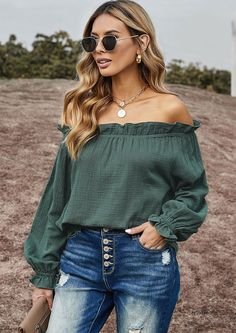 Date nigh or fun days in the sun, our Amelia Ruffle Off Shoulder Blouse a Ruffle Off Shoulder Blouse is up for the task of making you stand out. The elastic ruffled neckline leaves your shoulders bare with long sleeves. Get the look with your distressed denim and heels for feeling the best you ever felt. Off Shoulder Tops, Off Shoulder Blouse, Everyday Outfits, Everyday Fashion, Thing 1, Spring Tops, Ruffle Top, Online Shopping Clothes, Distressed Denim