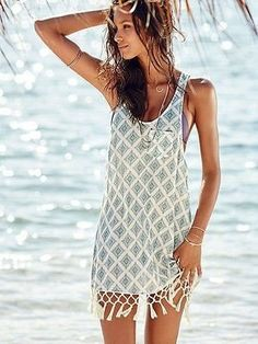 Boho-Style Fringe Chiffon Backless Lace Crochet Beach Cover Up S-XL-Loluxe