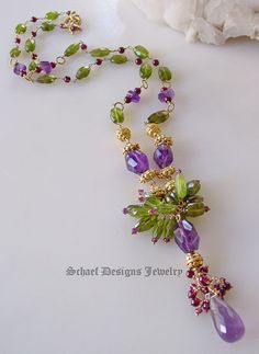 Amethyst Garnet Peridot gemstone necklace by Schaef Designs Jewelry