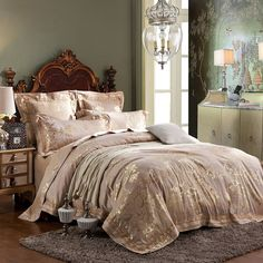Amazon.com: MKXI Fashionable Pattern Satin Jacquard Silk Duvet Cover Set,Luxury Paisley Queen Set: Bedding & Bath
