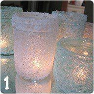 I saw this and thought it was awesome... I stole this... it is not my own...  I USED A FOAM BRUSH & ELMERS FULL STRENGTH AND GOT BEST RESULTS...  PAINT GLUE ONTO ANY OLD JARS OR GLASS CONTAINERS ~ THEN ROLL RIGHT AWAY ON EPSOM OR ROCK SALT. TADA!!!~~ WHEN THEY ARE DRY YOU NOW HAVE TEA LIGHT AND CANDLE HOLDERS. Also, error friendly... don't like results or want a do over? Rinse with hot water.