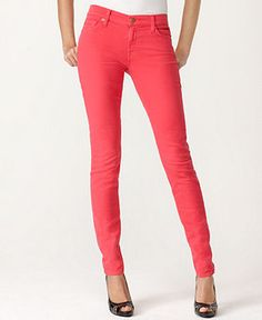 7 for all Mankind Jeans, Neon Light Twill Skinny Pink Wash