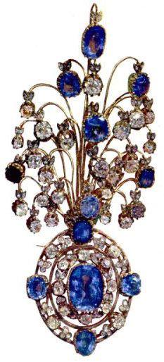 Iranian Crown Jewels - Sapphire and diamond brooch