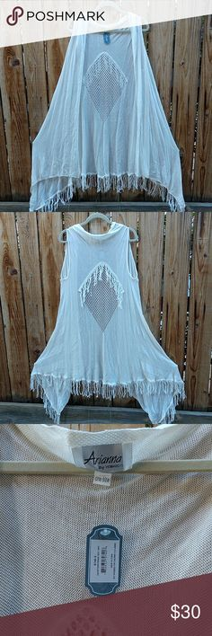 51a6b6cc70e White Hippie Fringe Shrug Cardigan White Hippie Fringe Shrug Cardigan One  size. 36 inches long in the back. 48 inches in the front at it s furthest  tip.