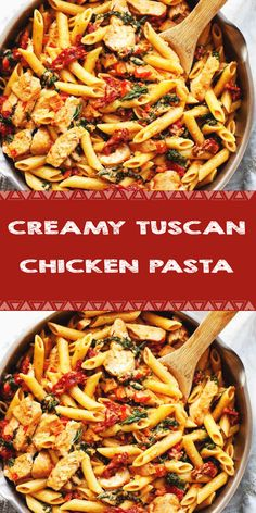 Ingredients For the Pasta: 1 pound penne or other pasta 1 tablespoon butter For the Chicken and . Grilled Chicken Recipes, Baked Chicken Recipes, Tuscan Chicken Pasta, Cooking Recipes, Healthy Recipes, Lunch Ideas, Dinner Ideas, Dinner Recipes, Fitness Foods