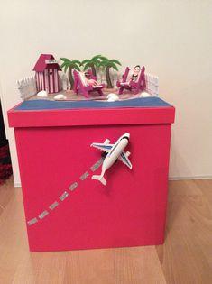 Urne mariage voyage / transat / île / plage/ playmobil / palmier / fushia