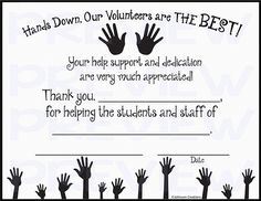 Editable volunteer certificates google search crafts for kids hands down our volunteers are the best certificate yelopaper Choice Image