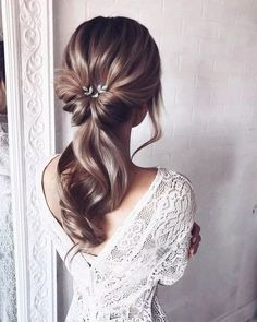 55 wedding hairstyles for the elegant bride gorgeous 2019 13 – Hair Styles Wedding Hair And Makeup, Bridal Hair, Hair Makeup, Hair Wedding, Boho Wedding, Hair For Bride, Wedding Hair Styles, Prom Makeup, Dress Wedding