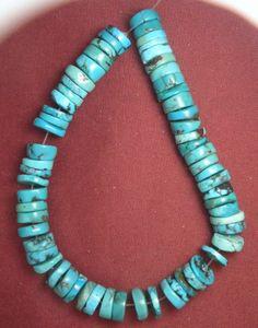 "Turquoise Loose 10mm Heishi Beads Natural Blue 9"" Strand Lot # 501 #SleepingBeauty #Southwest"