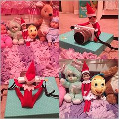 Instagram user jordynns_mommy23's elves set up a photo shoot iwth some of her favorite stuffed toys and dolls.   Source: Instagram user jordynns_mommy23