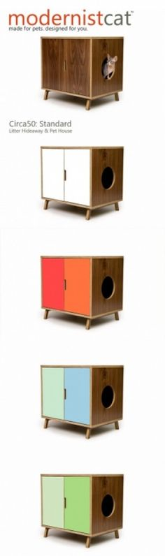 Mid Century Modern Pet Furniture // Dog House // by modernistcat Dog Furniture, Modern Cat Furniture, Walnut Furniture, Furniture Plans, Litter Box, Pet Beds, Dog Houses, Diy Stuffed Animals, Animal Design