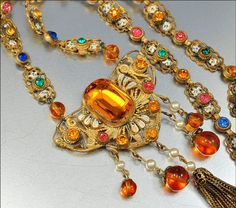 Antique Art Deco Necklace Czech Glass Enamel Gold by boylerpf, $150.00
