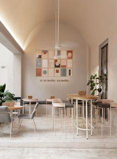 Interior Design For Bathroom Coffee Shop Interior Design, Coffee Shop Design, Restaurant Interior Design, Modern Interior Design, Interior Architecture, Interior Shop, Apartment Interior, Deco Cafe, Pastel Interior