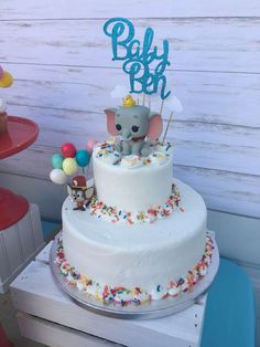 Check out the fun birthday cake at this Dumbo Baby Shower! See more party ideas and share yours at CatchMyParty.com #catchmyparty #partyideas #dumboparty #circusbabyshower #dumbobabyshower #boybabyshower#dumbocake