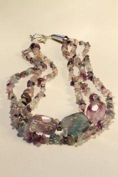 Chunky Rainbow  fluorite Necklace 30  3 by HavenHummingbird, $55.00