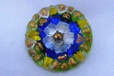 Czech Glass Button 23mm - hand painted - crystal, green, gold, white, royal blue (B23002)