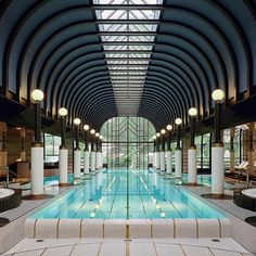 hotel The Belle Epoque-style pool inside the spa of the Victoria-Jungfrau Grand Hotel amp; Spa in Interlaken, Switzerland. Luxury Swimming Pools, Indoor Swimming Pools, Swimming Pool Designs, Hotel Swimming Pool, Lap Swimming, Spa Design, Design Hotel, Design Interiors, Interior Design