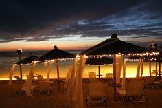 VIP beach at night