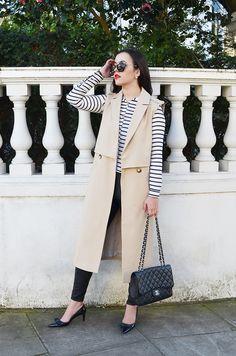 Sleeveless Trench #ImWearingRI Sleeveless Blazer Outfit, Sleeveless Coat, Blazer Outfits, Eid Outfits, Summer Coats, Long Vests, Dior, Minimal Fashion, Preppy Style