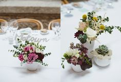 Lovely table flower arrangements: succulents,  silver dollar eucalyptus, craspedias, roses and white laser cut lettering. www.comobranco.com @marryinportugal #comobrancoweddings