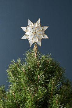 Slide View: 2: Capiz Star Light-Up Tree Topper