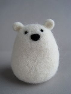 Polar Bear Needle Felted Wool Sculpture by Woolnimals on Etsy
