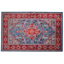 ICON PRINTED PERSIAN RUG in Red & Blue