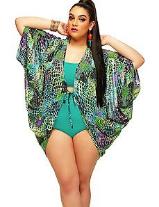 St. Johns' Cocoon Swim Coverup Caftan- Green Multi by Monif C.