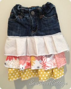 Up-cycled jean skirt with ruffles--Sew Sweet Cottage
