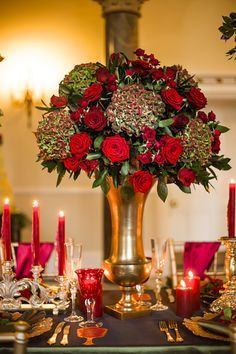 Rich bold wedding colors of a glamorous French baroque inspired styled shoot. Dark details infused for a twist on a modern wedding with an old world feel. Red Wedding Flowers, Red Flowers, Wedding Colors, Wedding Table Centerpieces, Reception Decorations, Centrepieces, Baroque Wedding, Gothic Wedding, Theme Color