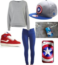 """""""captain america inspired outfit."""" by alleyswag on Polyvore"""