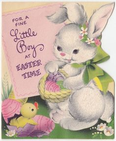 Vintage Greeting Card Easter Cute Flocked Bunny Rabbit Chick 1950s j839