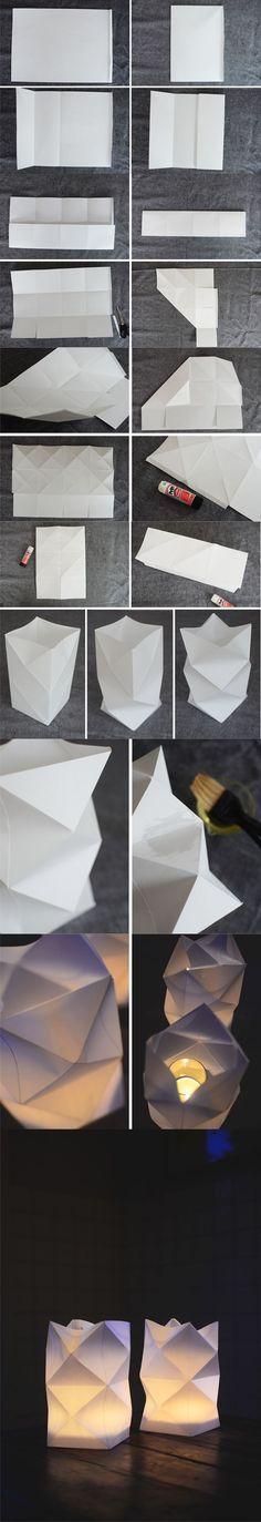 Linternas de papel con origami / Via http://blogg.skonahem.com/
