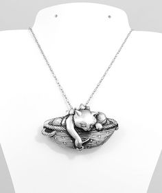 Sterling Silver Cat Kitty In A Basket Playing With Yarn Pin Brooche Pendant #Handmade