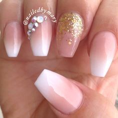 Gradient ombré American French gold Swarovski crystals coffin acrylic nails