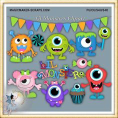 Magicmaker-Scraps : Birthday - Poser Tubes Gift Certificates Cover Photos Clipart CU By Theme TOU Cards Freebies Background Papers Quickpages Digi-Scrapbook Kits Character Collection EXCLUSIVE ecommerce, open source, shop, online shopping Monster Clipart, Monster Under The Bed, Calendar Stickers, Checkbook Cover, Mural Wall Art, Monster Party, Paint Shop, Crafts For Kids, Diy Crafts