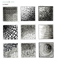 pen and ink textures Pencil Texture, Texture Drawing, Texture Sketch, Pencil Shading Techniques, Drawing Techniques, Ink Pen Art, Ink Pen Drawings, Drawing Exercises, Visual Texture