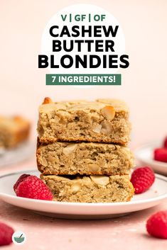 These Cashew Butter Vegan Blondies are rich, fluffy, and made with only 7 wholesome ingredients! vegan, gluten-free, and oil free. Vegan Dessert Recipes, Vegan Sweets, Vegan Blondies, Cashew Butter, Mini Cheesecakes, Savoury Cake, Kid Friendly Meals, Clean Eating Snacks, Vegan Gluten Free