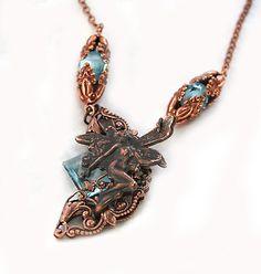 Aqua Victorian Style Necklace Fairy Pendant Neo by DesignsBloom, $60.00